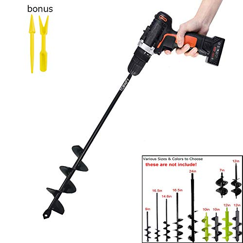 Auger Drill Bit 1.8x14.6inch Garden Plant Flower Bulb Auger Rapid Planter Bulb & Bedding Plant Auger for 3/8' Hex Drive Drill Earth Auger Drill Fence Post Umbrella Hole Digger