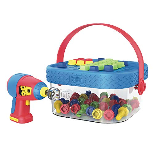 Educational Insights Design & Drill Bolt-It Bucket, Portable, Travel Friendly Drill Toy Set, 56 Piece Set, Perfect for Boys & Girls Ages 3+