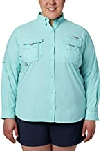 Columbia Women's Standard PFG Bahama II Long Sleeve Shirt, Breathable with UV Protection, Clear Blue, Large