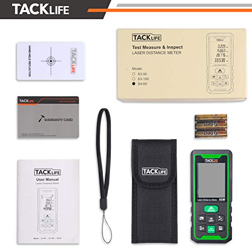 TACKLIFE Laser Measure 196Ft M/In/Ft Green Beam Laser Distance Meter with Angle Sensor, Backlit LCD and Laser Class: Class 2 (IEC/EN60825-1/2014) <1mW power output - Indoors & Outdoors - S4-60