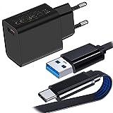 UNIDOPRO 18W Cargador Quick Charge 3.0, Cargador de Pared USB con 1M Flat Cable USB Tipo C para Samsung Galaxy S21 S20 FE S10 S9 Note 20 Ultra 10+ 10 Lite | Redmi Note 10 9T 9S 9 8 Pro POCO X3 NFC