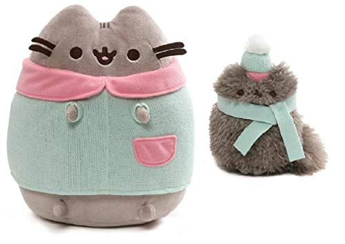 GND Pusheen Plush Winter Two Piece Bundle, 9 inch Pusheen Wearing a Christmas Sweater and 4.5 inch Pip with a Hat and Scarf