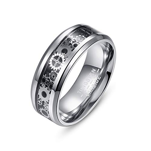 Shmiay.ML Tungsten Carbide Ring for Men, Steampunk Gear Wheel Inlay Wedding Engagement Band, Silver Beveled Edges Finger Ring for Men and Women, Comfort Fit, Size N½-Z+1 (Z+1)
