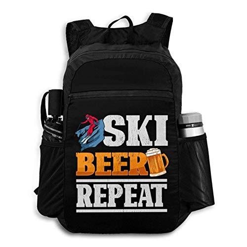 Suyu Stephanie Funny Ski Beer Repeat Skiing & Skiers Backpack Foldable Backpack Portable Storage Bag Hiking Bag Hiking Leisure Bag