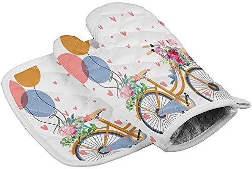 Valentines Oven Mitt and Pot Holder Set Bicicleta y Globos Guantes de Horno Resistentes al Calor Flores de Acuarela Corazón Guantes de Cocina para Barbacoa Cocinar Hornear g Guante tamaño 16