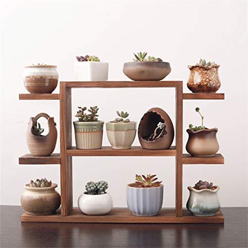 G-HJLXYZWJHOME Plantenstaafjes, massief hout, meerlaagse bloemen, geschikt voor op kantoor, vensterbank, decoratie voor woonkamer