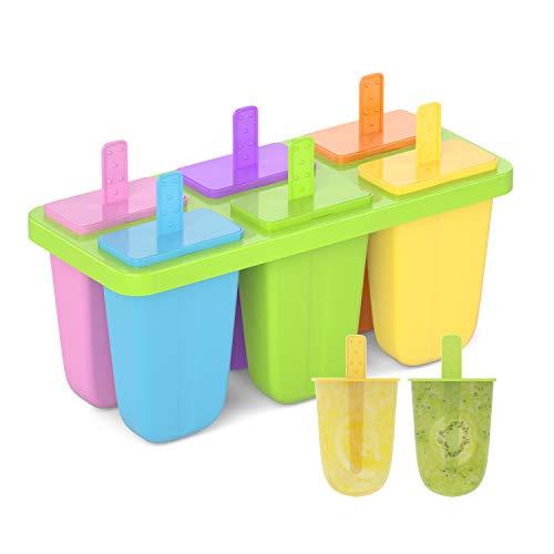 Joyoldelf Eisformen mit Deckel, 6 Eisform Eis am Stiel BPA Frei, Eisförmchen Popsicle Formen, Wassereis Formen, Perfekt für Kinder und Erwachsene