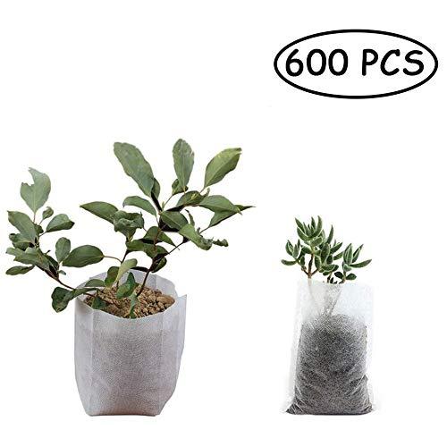 ZHHAOXINPA Compact 600pcs Sacs de pépinière Non tissés biodégradables, Plantes Solides cultivent des Sacs en Tissu Pots de semis Plantes Poche Maison Jardin approvisionnement 8x10 cm Plantes, Fleurs