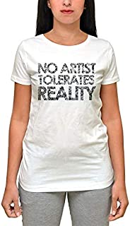 Printed Twws000311 No Artist Tolerates Reality T-Shirt For Women-White, 2Xlarge