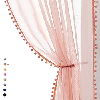 Treatmentex Pompom Blush Pink Sheer Curtains for Bedroom 84  Linen Textured Window Drapes for Living Room Kids Room 2 Pack 52  w