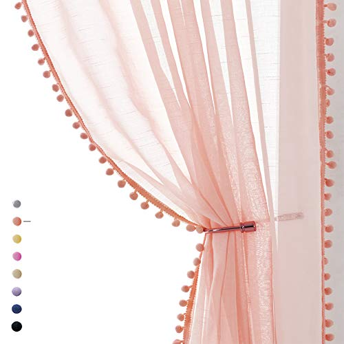"""Treatmentex Pompom Blush Pink Sheer Curtains for Bedroom 84"""" Linen Textured Window Drapes for Living Room Kids Room 2 Pack 52"""" w"""