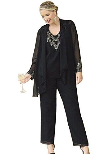 Kelaixiang Chiffon Pants Suits For Women Plus Size With Coat (22, Black)