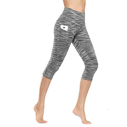 IceUnicorn Damen Leggings Lange Yogahose Sporthose Fitnesshose Laufhose 3/4 Training Tights mit Handytasche(3/4.Crushed Hemp, XS)
