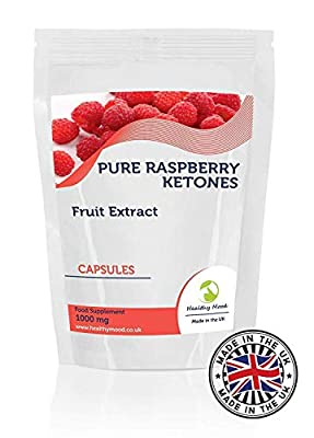 Raspberry Ketones Fruit Extract 1000mg Supplement 30 Capsules Weight Loss and Obesity Increase Lean Body Mass Improve Hair Growth Nutrition Supplements HEALTHY MOOD UK Quality Nutrients