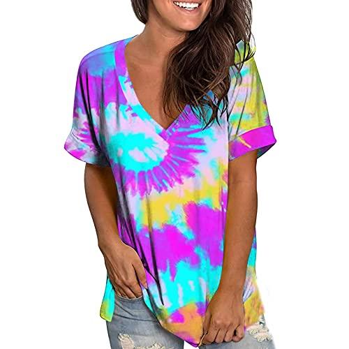 AMhomely Tops de verano para mujer, camiseta de manga corta con cuello en V y estampado de tie-dye
