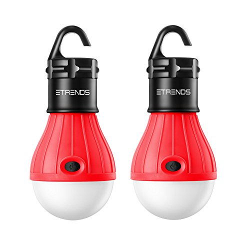 E-TRENDS Compact LED Lantern Tent Camp Light Bulb for Camping Hiking Fishing Emergency Lights, Battery Powered Portable Lamp, 2 Count, Red, Batteries Not Included