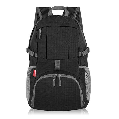 Foregoer 30l Ultra Zaino Leggero Idrorepellente Nylon Pieghevole Daypack per Viaggio Hiking - Nero