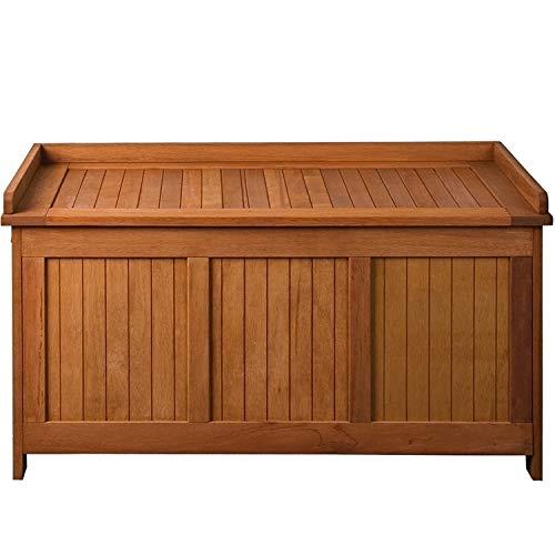 STILISTA® Gartenbank Gartenbox 219 L aus 100% FSC zertifiziertem Shorea-Hartholz, geölt, Liftautomatik, Gartentruhe inkl. Kissen in Farbe Natur, 113 x 52,5 x 60,5 cm, Auflagentruhe, Kissenbox