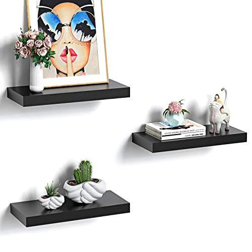 STOREMIC Wandregal schwarz, Regale für die Wand 3er-Set, Wandregal schwarz 20 kg Gewicht, modern Deko\Ausstellungsregale für mehr Platz L38 x B17 cm cm für Badezimmer, Büro, Wohnzimmer