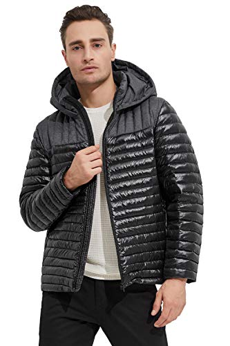 Orolay Men's Light Down Jacket Quilted Bubble Winter Coat Patchwork Puffer Jacket Dark Grey L