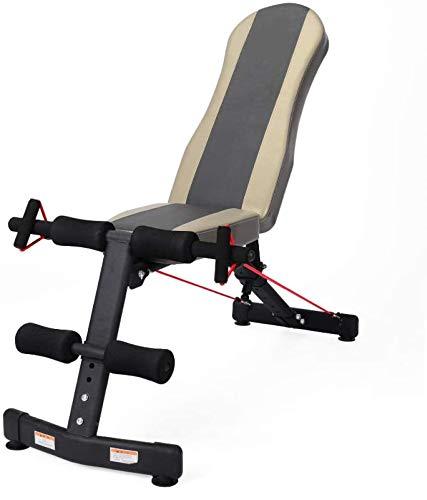 EW&HU Banco de pesas multifuncional, banco de pesas, tabla de supino ajustable, plegable en casa, gimnasio, fitness, multifunción, abdominal, muscular, banco de mancuernas