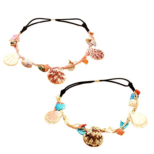 Shell Hairband, LKAKA Mermaid Wave Headband, Elastic Seashell Hairband for Girls and Women (2 pack)