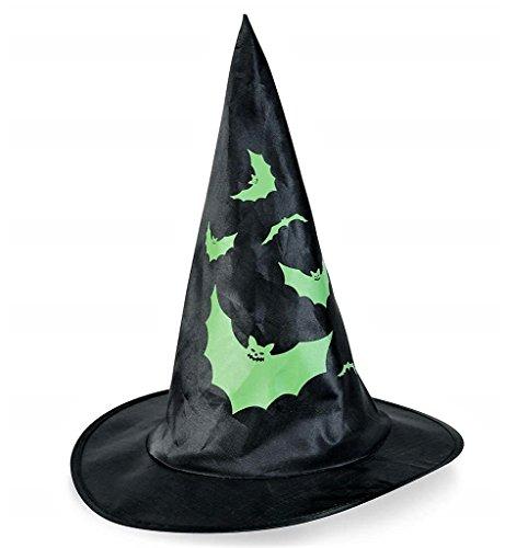 KarnevalsTeufel Hexenhut in schwarz mit verschiedenen Motiven, Kopfschmuck, Geisterstunde, Halloween (Fledermaus)