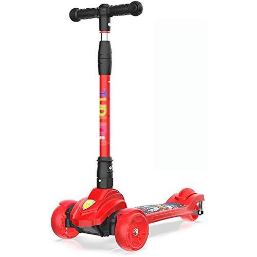 SXNYLY Kinder Kick-Scooters, 4-Rad-Scooter PU Light Up Räder Fahrkomfort Leicht Außen Spielzeug Erholung Verstellbarer Griff Verstellbarer Griff zu tragen (Color : C)