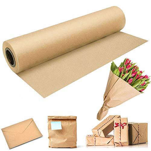 BUZIFU Braun Kraftpapier 60cm x 30m Packpapier Geschenkpapier Natürliches Recyclingpapier Kraftpapierrolle Braun Verpackungspapier Geschenkpapierrolle für Kunsthandwerk Geschenkverpackung Verpackung
