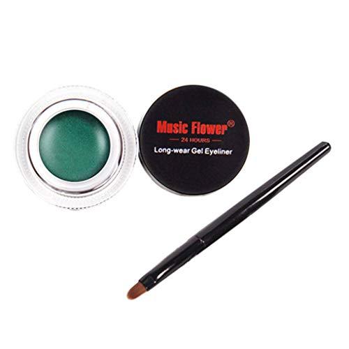 Yujum Delineador de Ojos a Prueba de Agua Ojos delineador de Gel de Ojos Maquillaje de los cosméticos Crema Crema portátil Multifuncional Paleta Eye Liner,Verde,3.5 * 2.4cm
