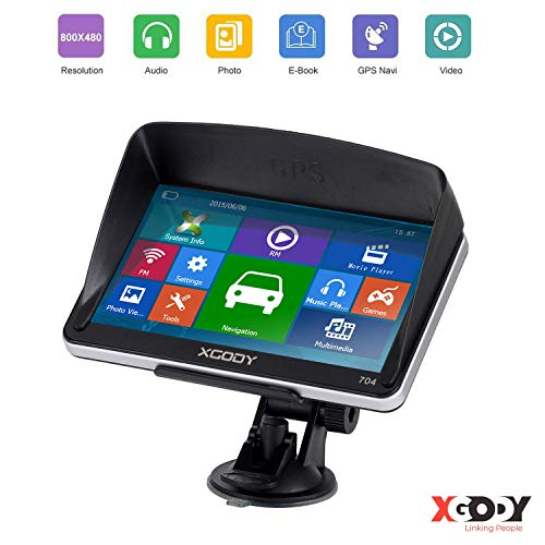Xgody GPS Truck GPS Navigation System with 8GB Sunshade 7 Inch Spoken Turn-by-Turn Directions Speed Limit Displays Capacitive Touch Screen SAT Navigator with US Lifetime Maps Updated