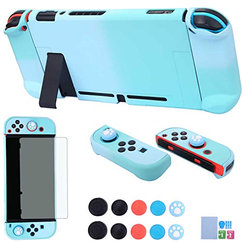 Dockable Case for Nintendo Switch - COMCOOL 3 in 1 Protective Cover Case for Nintendo Switch and Joy-Con Controller with Screen Protector and Thumb Grips - Blue and Cyan