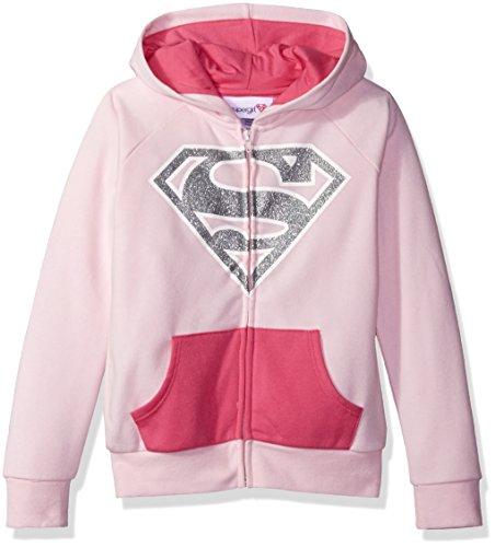 Warner Bros. Little Girls' Supergirl Cosplay Hoodie, Pink, S6/6X