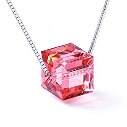 Sterling Silver Crystals With Red Swarovski Cubic Pendant Necklace