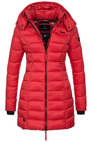 Marikoo Herbst Winter Übergangs Steppmantel Jacke Mantel gesteppt B603 [B603-Rot-Gr.M]