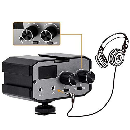 CVM-AX1 Microfoon mengpaneel adapter, 3,5 mm mono stereo tweekanaals audio mixer van metaal met flitsschoenhouder en audiokabel voor audio-opnamen met de camera