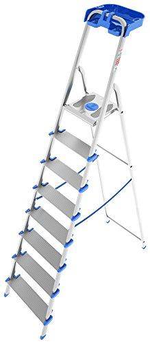 Colombo New Scal Atlantica 8 Escalera taburete Aluminio, Azul - Escalera de mano (2,51 m, 150 kg, 8,8 kg, 125 mm, 57 cm, 0,179 cm³)