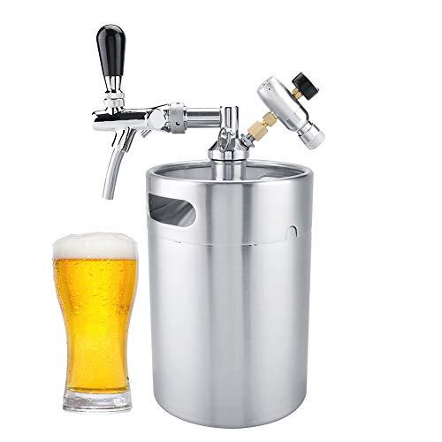 Barriles de Cerveza de Acero Inoxidable,Kit Dispensador de Cerveza de 5L con Grifo,Barril de Vino Barril Cerveza Growlers para Cerveza,Vino,Growler de Acero Inoxidable para El Hogar/Bar/Cervecería