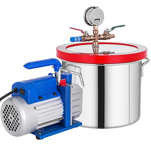 Bestauto 1 Gallon Vacuum Degassing Chamber Stainless Steel Degassing Chamber 3.8L Vacuum Chamber Kit with 3 CFM Single Stage Vacuum Pump(3CFM Vacuum Pump + 1 Gallon Vacuum Chamber)