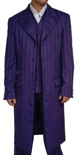 Big Sale New Men's 3 Piece Super 150s Purple Zoot Dress Suit (Halloween Joker Costume)