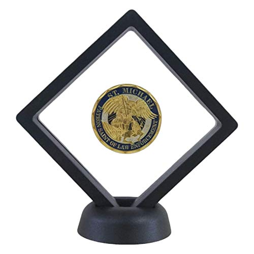 HillSpring Challenge Coins Display Stand, Medallion Jewelry Specimen Holder, Military Medal Clear Floating Frame Case Box