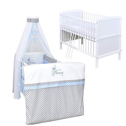 Baby Delux Babybett Komplett Set umbaubar Juniorbett weiß 140x70 mit mehrteiligem Bettset Prince Grey Stars