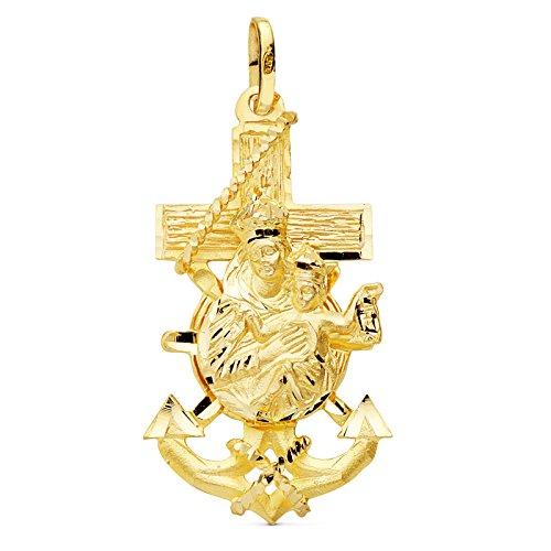 Colgante Cruz Marinera Virgen del Carmen Oro 18K 36 mm