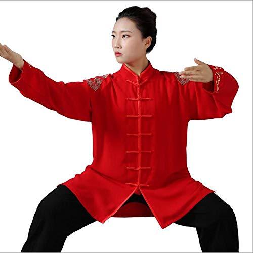 FYUUN Tai Chi Uniforme Traje De Kungfu Artes Marciales Traje De Entrenamiento Unisex Artes Marciales Tradicionales Cómodo Transpirable, Bordado Confort Transpirable,Red-M