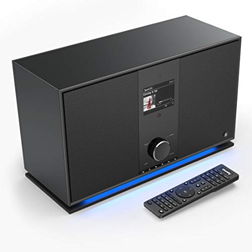 Hama DAB+ Internetradio 2.1 Soundsystem (Smart Radio mit WLAN/Digitalradio/Bluetooth/USB/AUX/Spotify/Amazon Music/Streaming, Multiroom,Subwoofer, 70 W, Farbdisplay, Fernbedienung/App-Steuerung)