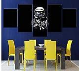 zmnba Sin Marco Impresión De La Lona Abstracta Arte De La Pared Modular 5 Unidades Astronautas Imáge...