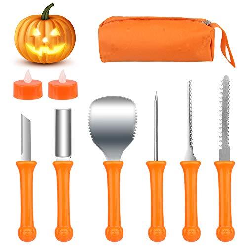 SHOKUTO 6-teiliges professionelles Kürbis-Schnitzset, robuste Edelstahl-Kürbisschnitzerei, DIY-Werkzeuge mit Reißverschluss, Aufbewahrungstasche für Halloween-Dekoration