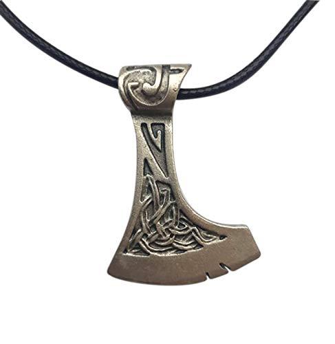 Hacha vikinga colgante de plata chapeada con collar. Amuleto vikingo VIKINGS celta de Fuerza y Protección. Original idea de regalo para los fans de Fantasy, Cosplay. Modelo artesanal único. H 4,3 cm
