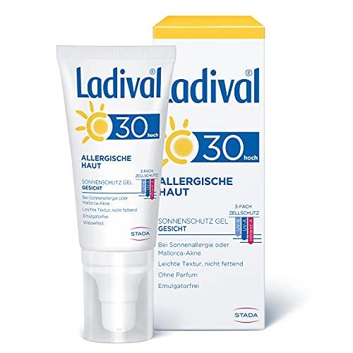 Ladival Allergische Haut Sonnenschutz Gel für das Gesicht LSF 30 – Parfümfreies Sonnengel für Allergiker – ohne Farb- und Konservierungsstoffe, wasserfest, 50 ml