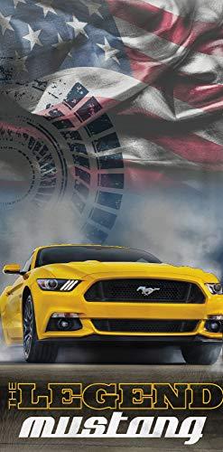 Ford Badetuch Mustang Legend Gelb Blau 75 cm x 150 cm 100% Baumwolle Veloursqualität Stang Pony-US-Muscle-Car Shelby GT Strandlaken Strandtuch Handtuch Badelaken Duschtuch Saunatuch Badelaken 008